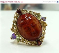 Tax Time Sale Vintage Sunstone Gemstone Cameo by thejewelseeker, $396.00