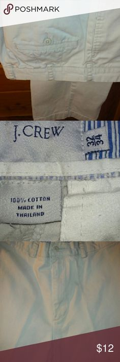 "J. Crew Long Khaki Pants, 100% Cotton, Sz 32/34 SALE  Khaki casual pants, belt  reinforced waistband, 2 front & 2 rear pockets, 100% cotton; inseam 32"",  rise 13"",  waist 32"",  hip 46"",  length 44"", Thailand. Condition is like new. Button is on the right when pants are on. J. Crew Pants Straight Leg"