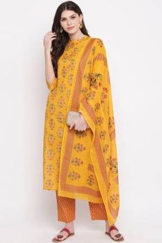 Vbuyz Yellow Cotton Printed Straight Kurta With Palazzo Set With Dupatta Latest Salwar Suits, Indian Salwar Suit, Salwar Kameez Online, Suit Shop, Cotton Fabric, Kimono Top, Clothes For Women, Stuff To Buy, Outfits