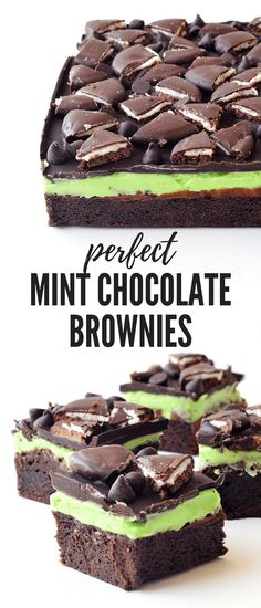 awesome Loaded Mint Chocolate Brownies - Sweetest Menu Read More by Chocolate Brownies, Chocolate Flavors, Mint Chocolate, Chocolate Desserts, Melted Chocolate, Chocolate Cookies, Chocolate Chips, Chocolate Covered, Just Desserts