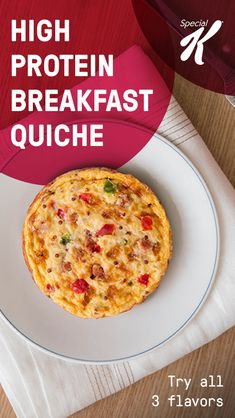 High-protein breakfast quiche: Kellogg's® Special K® Crustless Quiches have over 10 grams of protein and come in 3 delicious combinations -- Portabella Kale & Quinoa, Ham Cheese & Quinoa and Sausage Pepper & Cheese. Try all 3 flavors and kick start your Frozen Breakfast, High Protein Breakfast, Breakfast Quiche, Breakfast Dishes, Breakfast Recipes, Bariatric Recipes, Diet Recipes, Cooking Recipes, Healthy Recipes