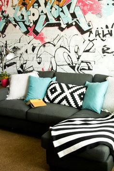 Modern graffiti playroom; tween room; tween lounge; graffiti wall; loft ideas