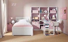 Dormitorio con estantería, escritorio y cama de Asoral.