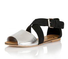 88a3c43d91b4 Ravel Dallas Black Silver Leather Open Toe Flat Sandals