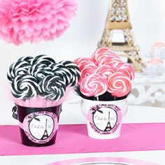 DIY_Paris Damask_Favor Buckets_LS with pink and black tulle edges