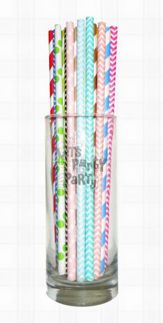 Paper Straws (Checkers, Chevrons, Circles, Damasks, Dots, Harlequins, Hearts, Solids, Starts, Stripes, Miscellaneous) available in colors: Pink, Red, Orange, Yellow, Green, Aqua, Blue, Purple, Grey, Black, Gold and Silver. 25pcs per OPP bag. Includes Free Shipping. $1,800 per lot