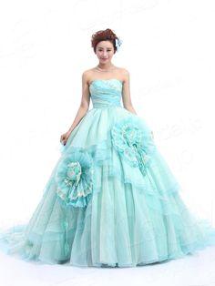 カラードレス プリンセスライン オーガンジ 大きいな花モチーフ ブルー?グリーンと淡いイェローのミックス JWLT14025