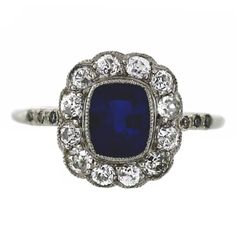 Antique Sapphire Old European Cut Diamonds Platinum Halo Ring  | From a unique collection of vintage fashion rings at https://www.1stdibs.com/jewelry/rings/fashion-rings/