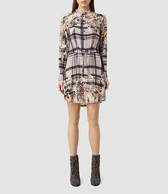 Womens Sanko Kinori Silk Dress (Light Grey) - product_image_alt_text_1