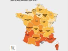 La carte du facteur de charge du parc photovoltaïque français (infographie)