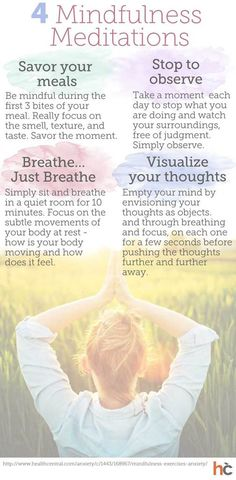4 Easy Mindfulness Meditations To Remember: #INFOGRAPHIC Read the full infographic and health article here: http://www.healthcentral.com/anxiety/c/458275/169311/4-meditations-infographic?ap=2012