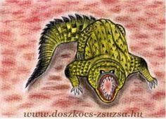 Krokodil - Állat, pasztell rajz