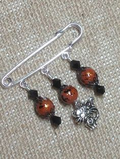 Beaded Cat Shawl Pin