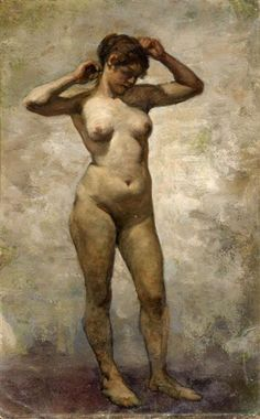 Lovis Corinth - Female Nude with Raised Arms; Medium: Oil on artists's cardboard