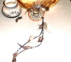 Dream catcher Native American art Arrowhead charm Feather dream catcher Green bead (12.00 USD) by EnchantedRoseShop