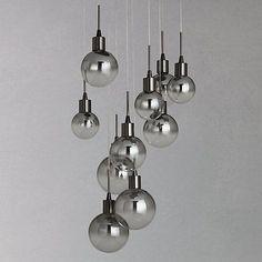 Buy John Lewis Dano LED Ombre Glass Ceiling Light, 10 Light, Black/Chrome Online at johnlewis.com