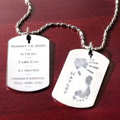 Baby Birth Celebration Tag Necklace Price: $125 #BlissLiving #Baby #BabyGift