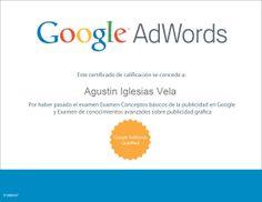 Certificado de Google Adwords de Conocimientos Avanzados en Publicidad Gráfica