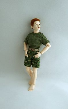 """Wearable shorts and T-shirt for 1/12 Heidi Ott 6"""" male doll. Dollhouse clothing. Price includes shipping. by TuulasBoutique on Etsy"""