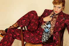She Wears the Pants – After initial preview last week, we get a full look at Miu Miu's fall 2012 advertisements starring actress Chloe Sevigny. Wearing colorful prints and pantsuits, Chloe relaxes in a chair in Mert & Marcus' intriguing portraits. The American star first appeared as the face of Miu Miu with the label's spring 1996 collection.