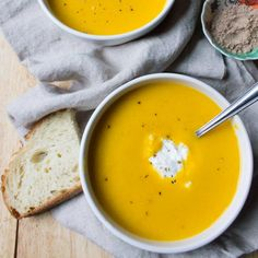 A spiced vegan butternut squash soup with cardamom, made extra creamy with coconut milk. Perfect soup for the fall and the holidays!