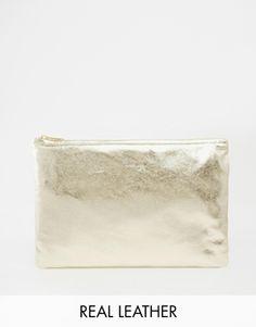American Apparel Metallic Leather Gold Clutch Bag $90 aos