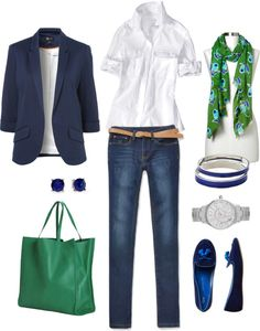 """Bold Green and Blue"" by bluehydrangea ❤ liked on Polyvore"
