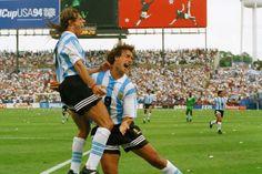 Claudio Caniggia and Gabriel Batistuta celebrate for Argentina during the 1994 World Cup.