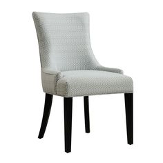 Constructed with solid hardwood and filled with thick padding, this sturdy chair is upholstered with plush grey fabric, featuring a geometric pattern throughout. With low-profile arms and tapered wood legs, this chair will give any home an elegant touch.