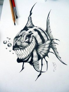 alan barbosa piranha by alanbarbosatattoo on DeviantArt Fish Drawings, Tattoo Design Drawings, Art Drawings Sketches, Tattoo Sketches, Cartoon Drawings, Tattoo Designs, Dark Drawings, Skull Tattoos, Body Art Tattoos