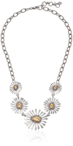 Lucky Brand Women's Floral Collar Necklace Two-Tone Chain Necklace 20'   2' Extender *** Additional details