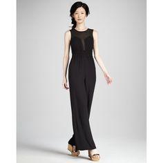 Bcbg Maxazria Kiara Black Silk Sleeveless Jumpsuit WQR9C125 ($190) ❤ liked on Polyvore featuring jumpsuits, black white, black and white jumpsuit, black silk jumpsuit, jumpsuits & rompers, bcbgmaxazria and sheer jumpsuit