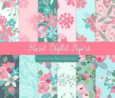 Floral digital paper floral Flower digital by DigitalCSPrintables