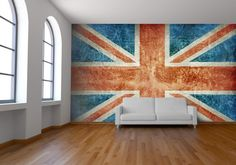 'Union Jack' wall mural design by Welk available at wallpapered.com
