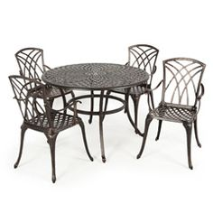 Ellister Regency Cast Aluminium 4 Armchair 105cm Round Outdoor Set