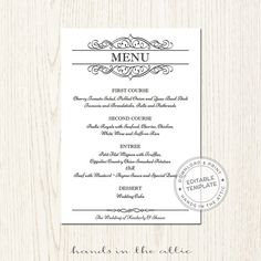Floral Wedding Menu Template Printable Menu Template Diy