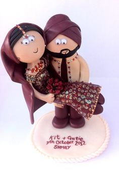 Personalised Indian cake topper. Made to look like you in any outfits/poses you want, I ship world wide www.googlygifts.co.uk