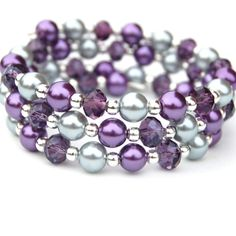 Purple and Silver Pearl Crystal Memory Wire Bracelet by AMIdesigns, $19.00
