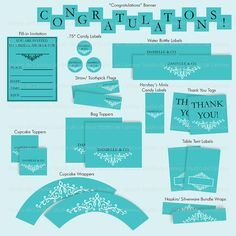 Printable Tiffany Theme Party Package #bridal_shower #bachelorette_party #sweet_16 #party_printables