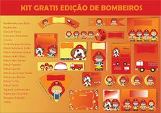 Tema da festa: Bombeiro! | Guia Tudo Festa - Blog de Festas - dicas e ideias! Fire Trucks, Printables, Birthday, Party, Popcorn Boxes, Female Firefighter, Fireman Party, Party Kit, Places