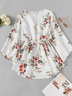 Floral Print Surplice Drawstring Waist DressFor Women-romwe - My CMS Girls Fashion Clothes, Teen Fashion Outfits, Mode Outfits, Look Fashion, Fashion Dresses, Lolita Fashion, Retro Fashion, Dress Outfits, Cute Casual Outfits