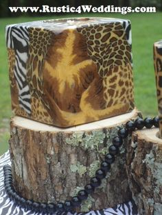 Rustic 4 Weddings: Rustic Safari Wedding Candle Stands and Holders- Zebra, Giraffe, Leopard, Cheetah, Tiger, Animal Print Wedding Centerpiece Ideas