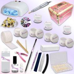 Il kit che vi arriverà comprende: - 1 lampada UV da 36W + 4 bulbi da 9W ciascuno  - 1 fresa - 1 Valigetta Beauty Case (il colore e la fantasia possono variare) - 1 Primer o Olio Cuticole in base alla disponibilità di magazzino - 100 pads - 100 cartine nail form - 1 Gel UV base 5ml  - 1 Gel UV costruttore 5ml  - 1 Gel UV french 5ml    - 3 Gel UV uv colorati 5ml - 1 Gel UV sigillante lucidante 5ml  - 1 cleaner 100ml  - 1 pennello per gel UV - 3 lime - 1 buffer mattoncino  - 1 colla per tip 3g… Kit Gel Uv, Nail Patterns, Acetone, Convenience Store, Nail Polish, Nails, Beauty Case, Finger Nails, Ongles