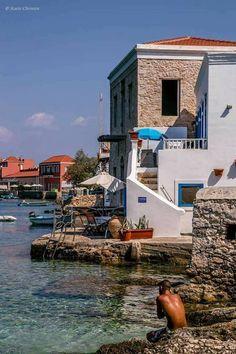 island of Halki Beautiful Islands, Beautiful Places, Santorini Villas, Myconos, Holiday Places, Unique Buildings, Greek Islands, Greece Travel, Crete