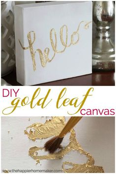 DIY Gold Leaf Canvas Tutorial - make your own art decor - would be great for Christmas gifts too! Easy tutorial!