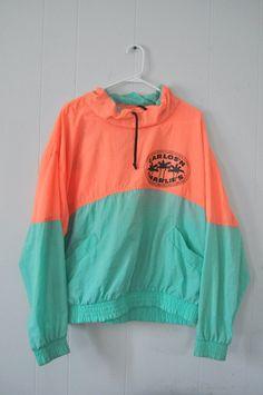 Vintage Windbreaker Carlos n Charlies Jacket Neon by retroEra, $22.00