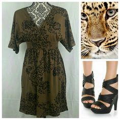 Leopard and Rose Brown Dress by Derek Heart Has floral and leopard design mixed together. Very nice dress to dress up with heals or down with sandals. It has an elastic waistband. Laying flat: 12 inches across waist and stretches up to 22 inches. 33 inches long.   I love to offer bundle discounts!   Smoke free home.   No trades. Love the item but not the price? Submit an offer! Derek Heart Dresses