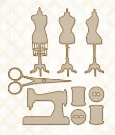 Blue Fern Studios - Chipboard - Miss Tailor Set,$3.99