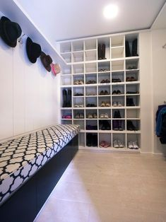 Closet, Contemporary Laundry Room With Captivating Wall Mount Shoe Storage Also Modern Wall Hat Hook Also Modern Bench Design: Wall Mount Shoe Storage to Keep Well Organized