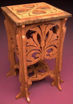 Fern stool , scroll saw fretwork pattern